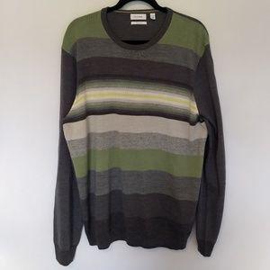 CALVIN KLEIN Sweater XL Wool Blend Striped Gray